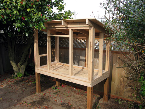 example picture chicken coop foundation and walls frame